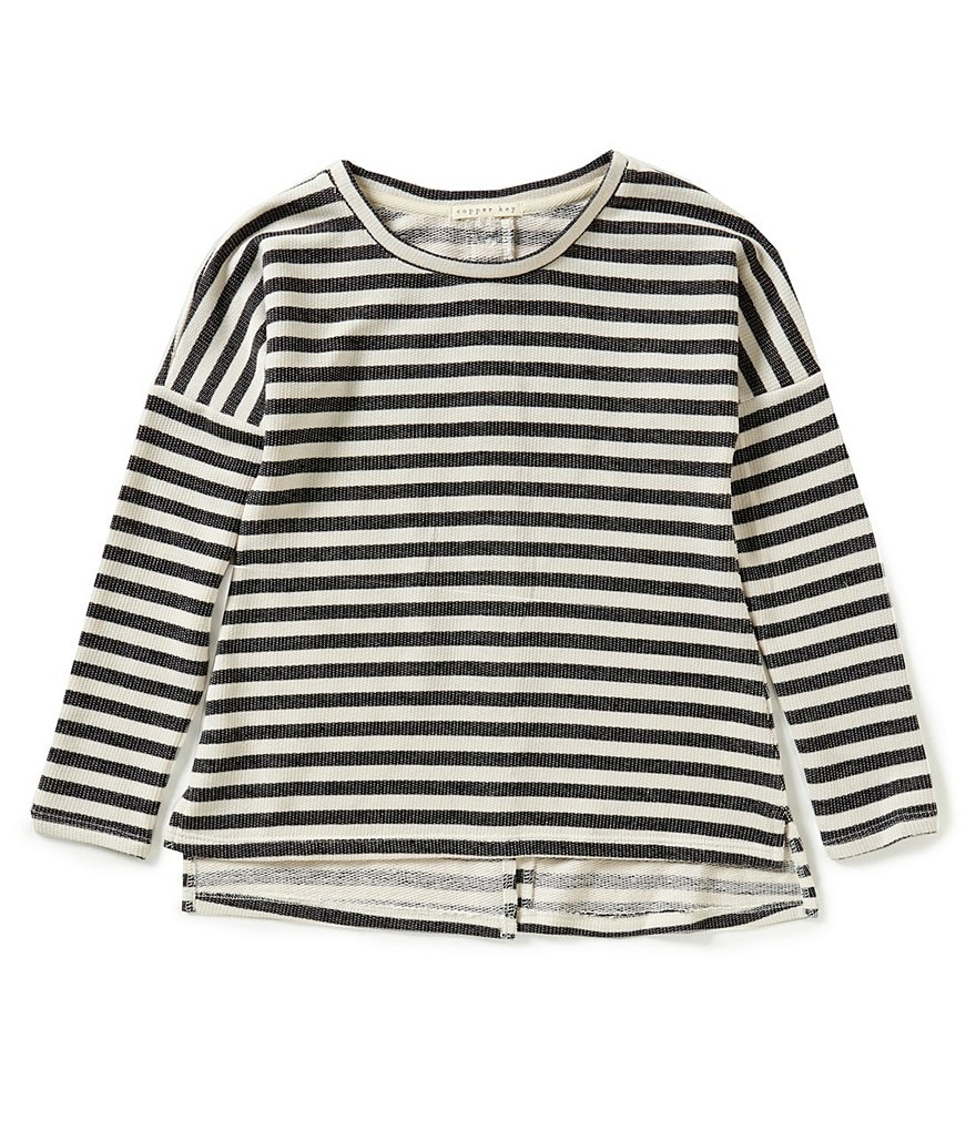 Copper Key Big Girls 7-16 Striped Split-Back High-Low Top