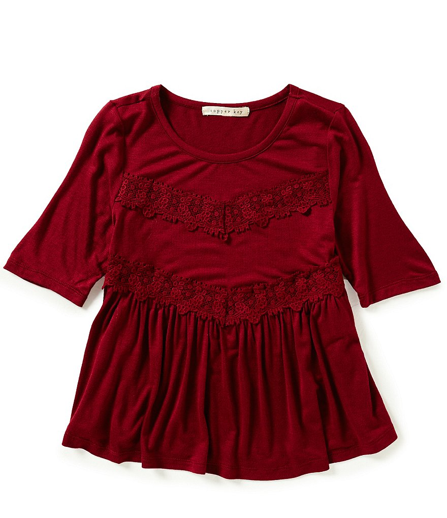 Copper Key Big Girls 7-16 Lace-Front Knit Top