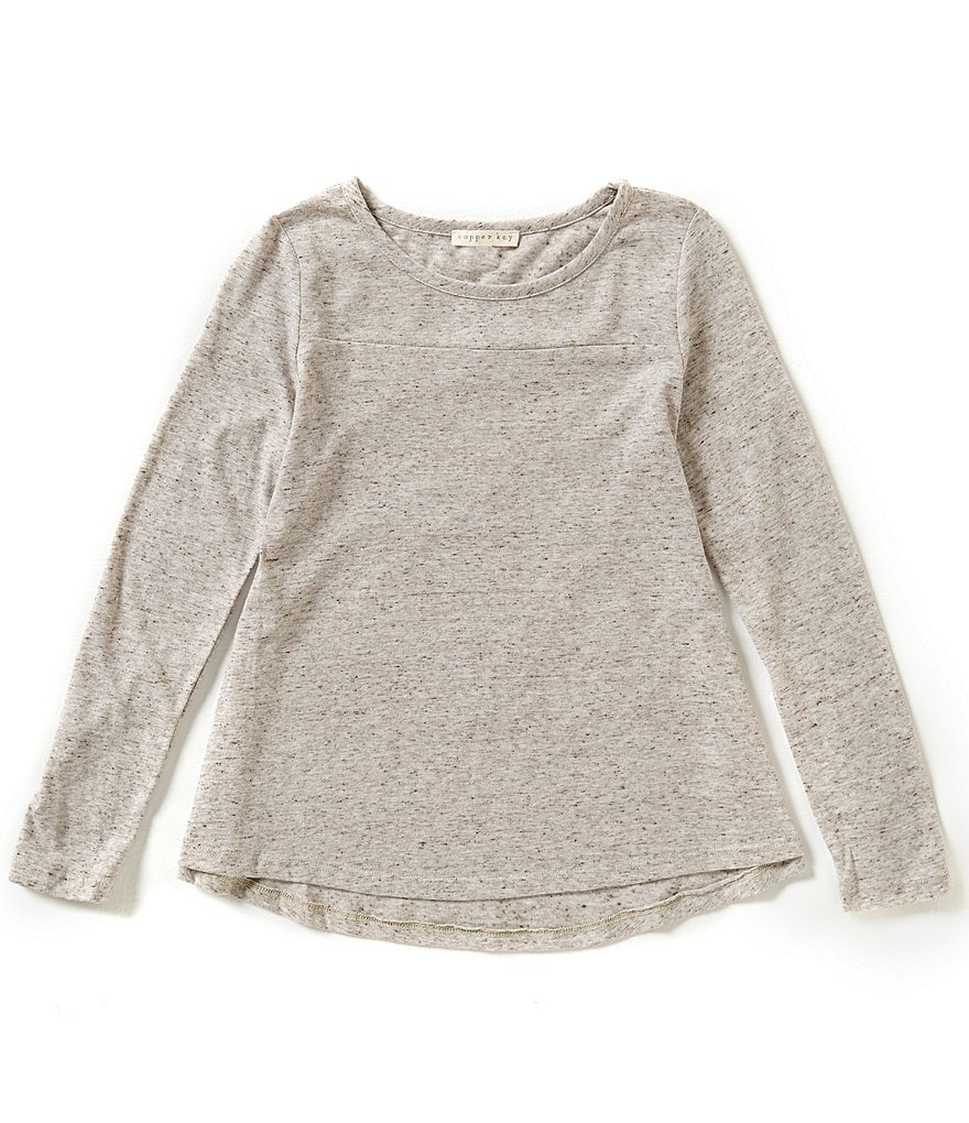 Copper Key Big Girls 7-16 Long-Sleeve High-Low Speckled Knit Swing Top