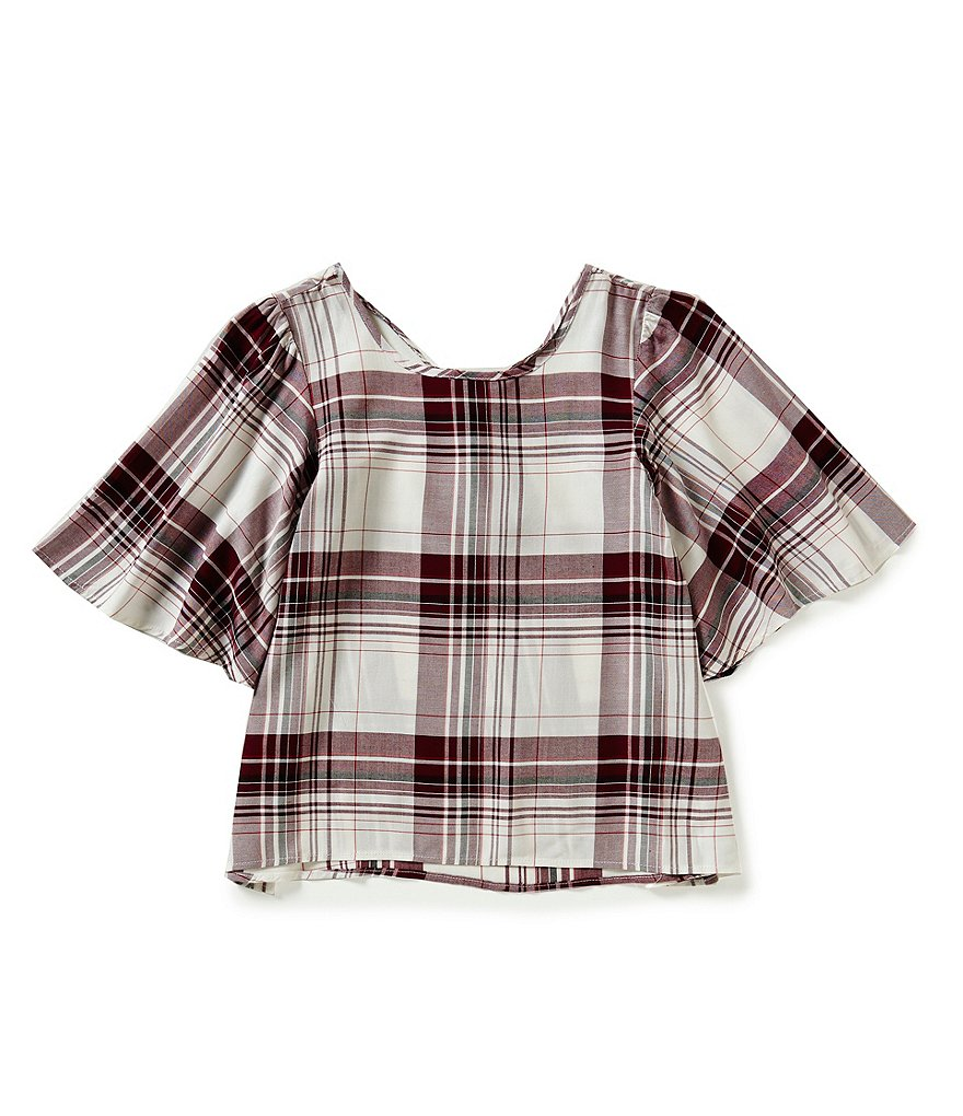 Copper Key Big Girls 7-16 Bell-Sleeve Plaid High-Low Top