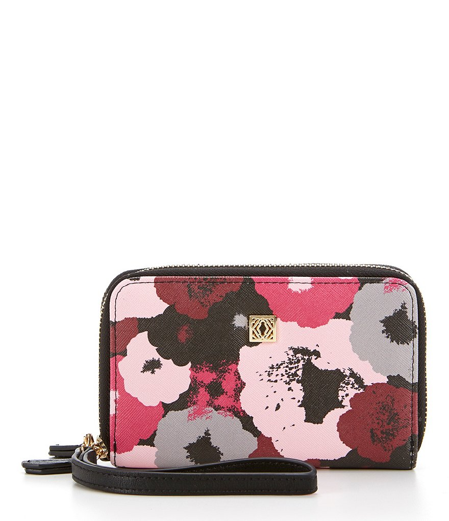 Kate Landry Cabana Floral Double Zip-Around Cell Wristlet