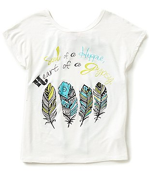 Moa Moa Big Girls 7-16 High-Low Hippie Feather Graphic Tee