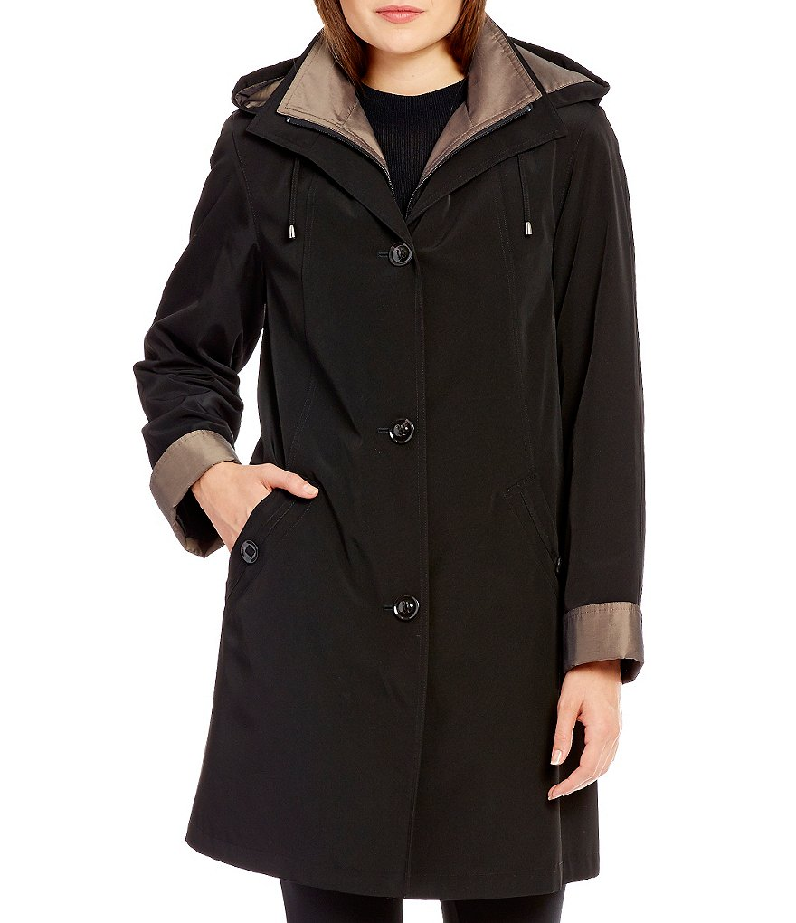 Gallery A-Line Rain Swing Coat With Detachable Hood