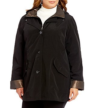 Gallery Plus Silk Look Jacket With Detachable Hood