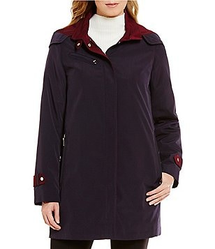 Gallery A-Line Contrast-Trim Swing Coat With Detachable Hood