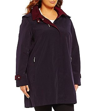Gallery Plus A-Line Contrast-Color Swing Coat With Detachable Hood
