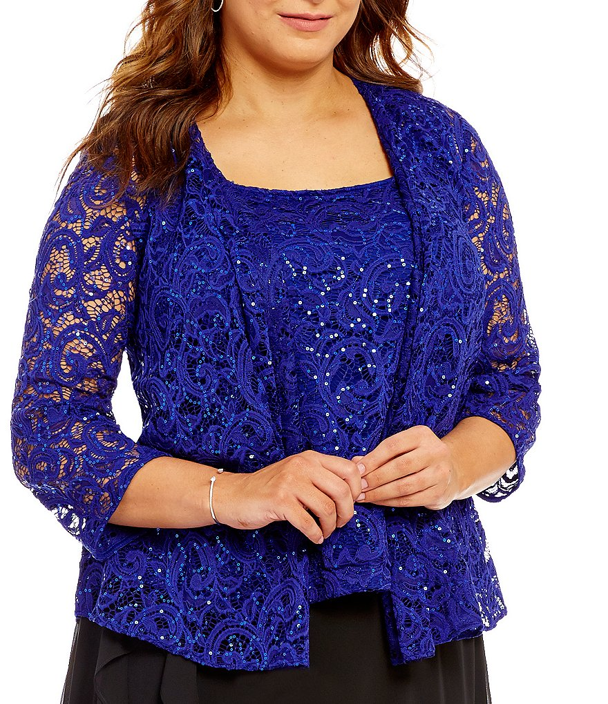 Alex Evenings Plus 3/4-Sleeve Sequined Jacket Twinset