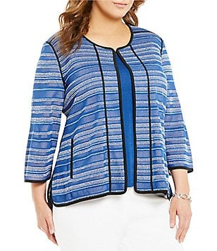 Ming Wang Plus Jewel Neck 3/4 Sleeve Multi Stripe Jacket