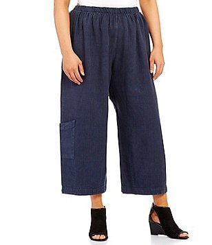 Bryn Walker Plus Casbah Cropped Linen Pants
