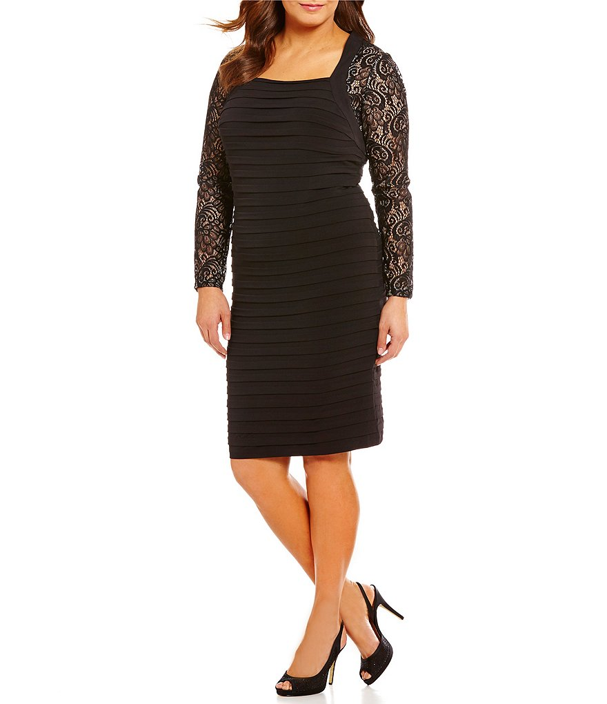 London Times Plus Square Neck Lace-Inset Sheath Dress