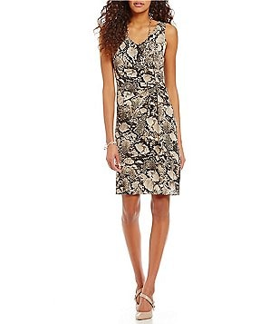 Jones New York Viper Pebble Crepe Print Side-Tuck Sleeveless Sheath Dress