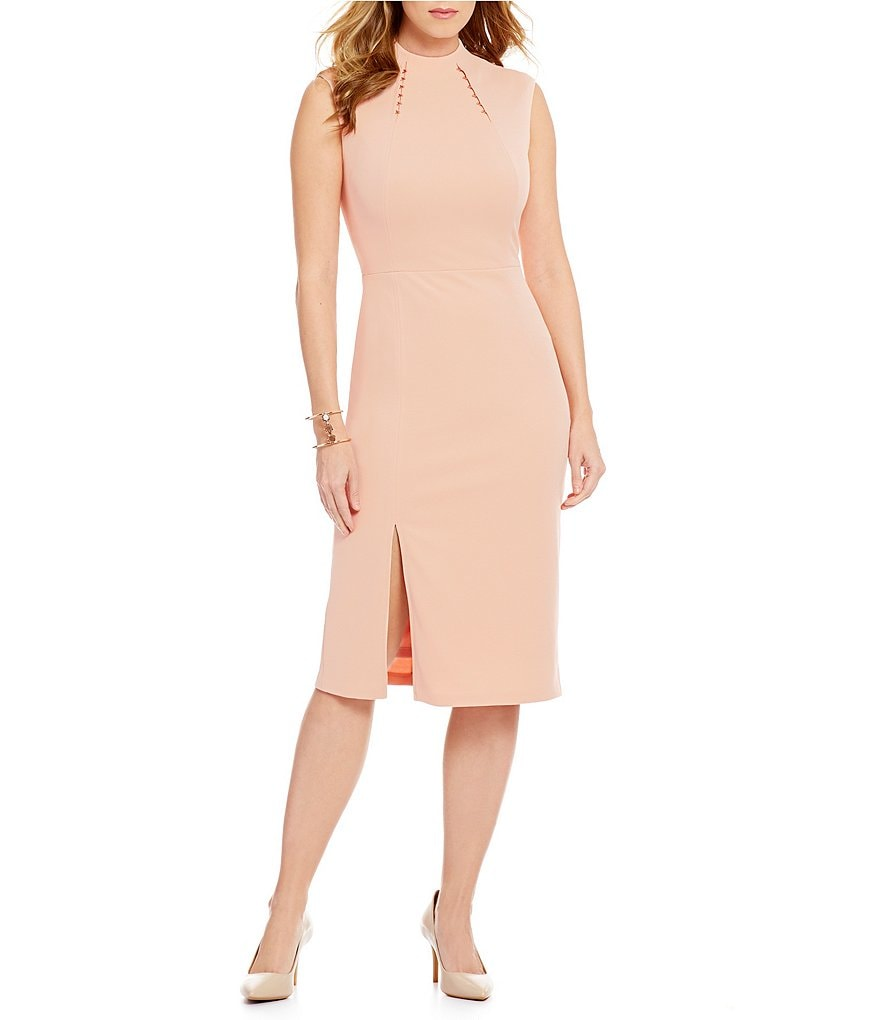 Ivanka Trump High Neck Cap Sleeve Scuba Crepe Paneled Sheath Dress