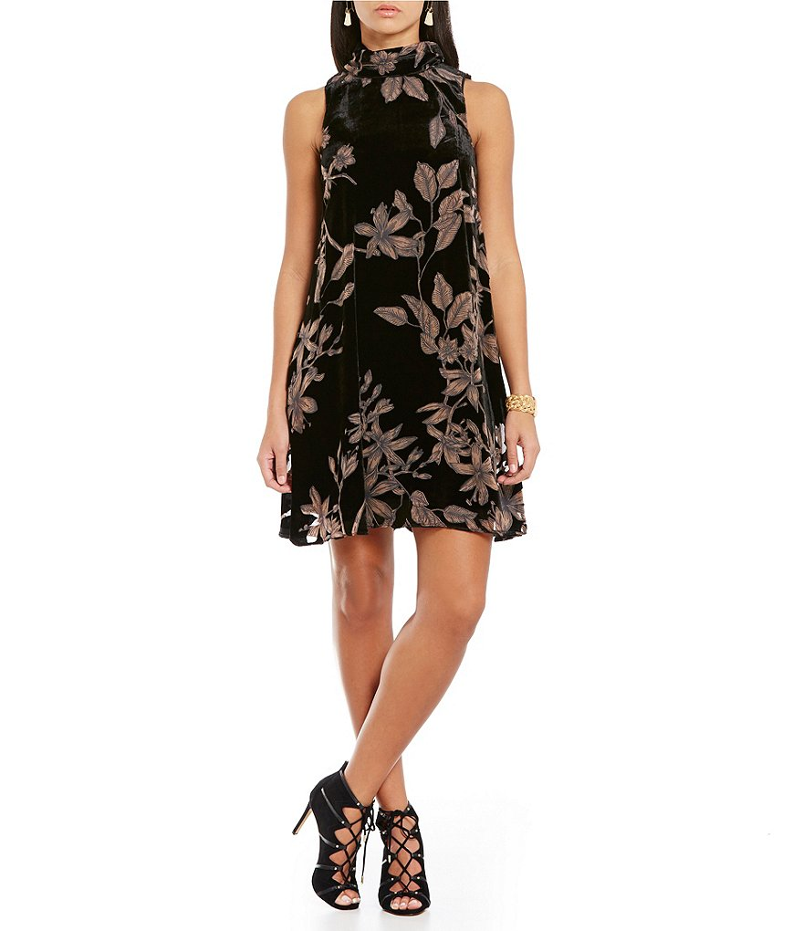 Ivanka Trump Climbing Lilies Burnout Velvet Overlay A-Line Dress