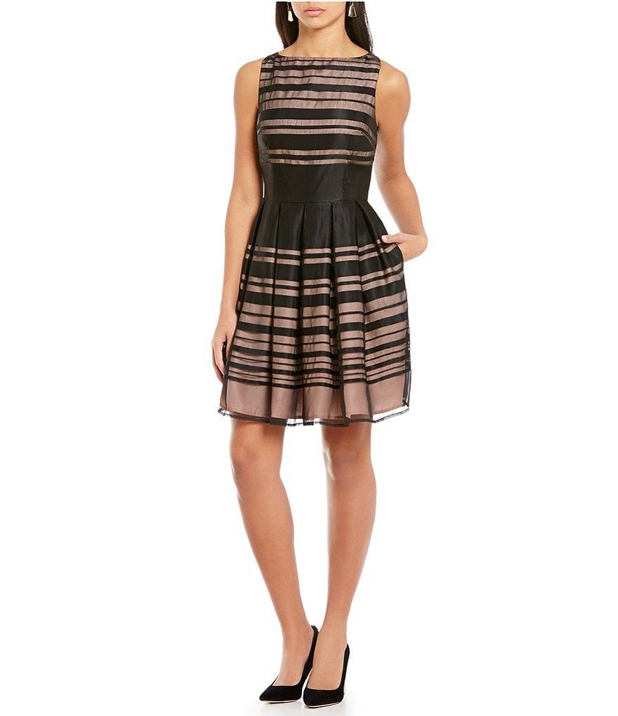 Ivanka Trump Sheer Stripe Sleeveless Overlay Pleated Dress