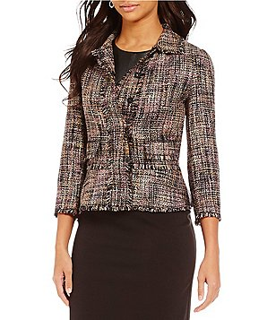 Ivanka Trump Frayed Edge Novelty Tweed Blazer Jacket