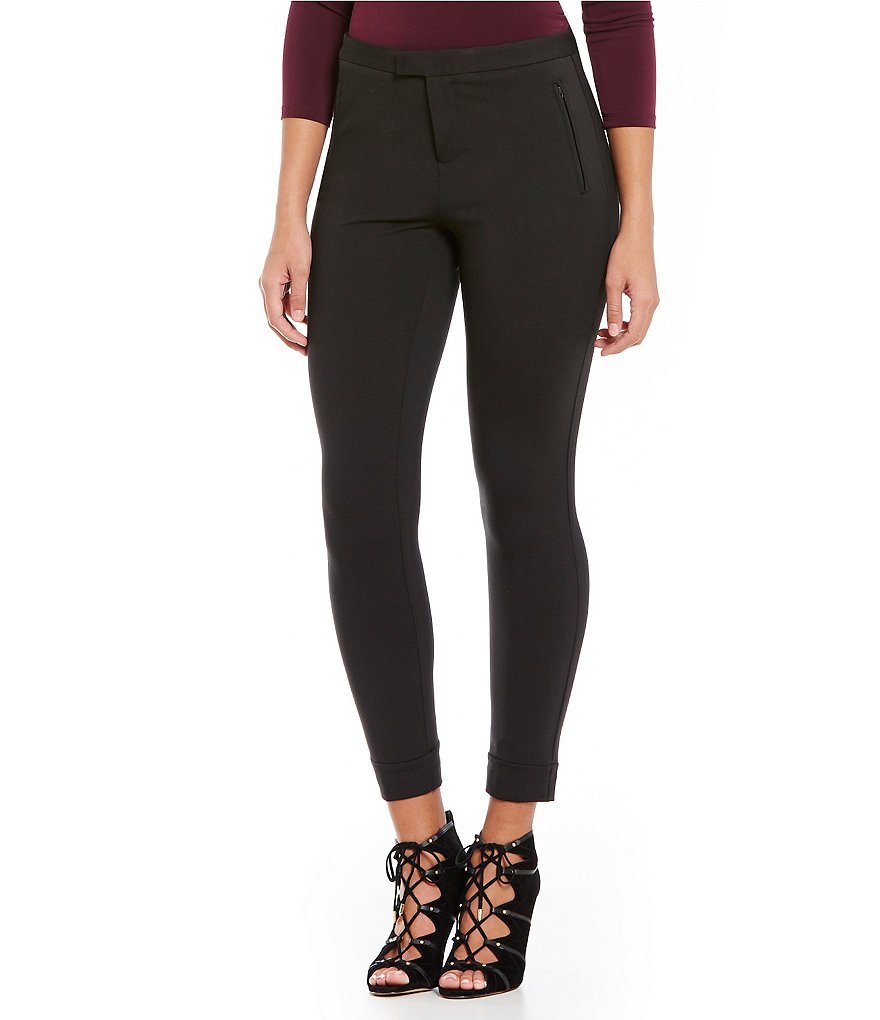 Ivanka Trump Ponte Knit Straight-Leg Cuffed Pants