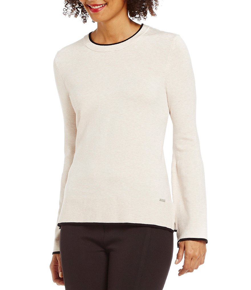Ivanka Trump Crew Neck Bell Sleeve Tipped Sweater
