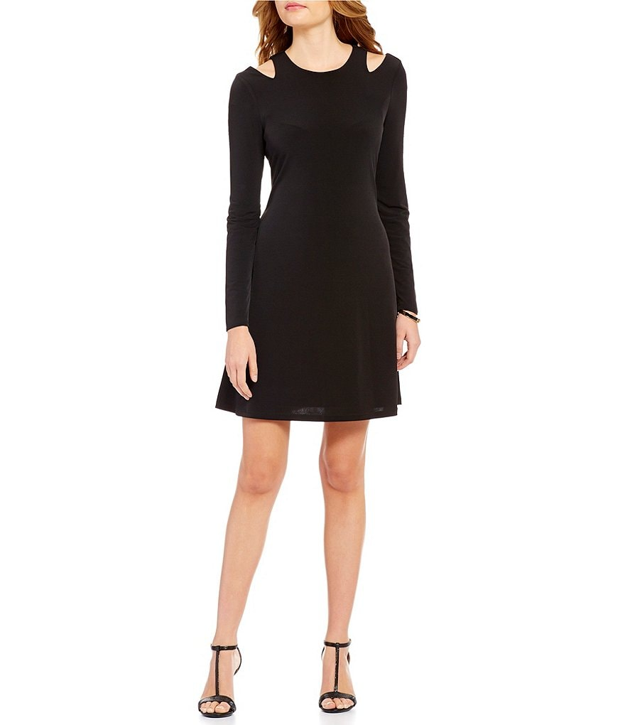 Ivanka Trump Lond Sleeve Cut-Out Shoulder Solid Matte Jersey A-Line Dress