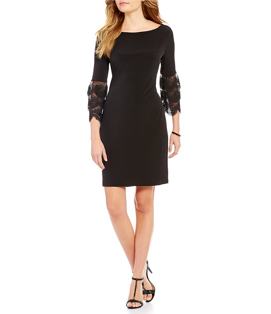 Ivanka Trump Layered Lace Bell Sleeve Solid Matte Jersey Shift Dress