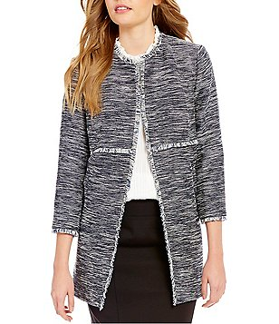 Ivanka Trump Round Neck 3/4 Sleeve Open Front Frayed Tweed Long Jacket