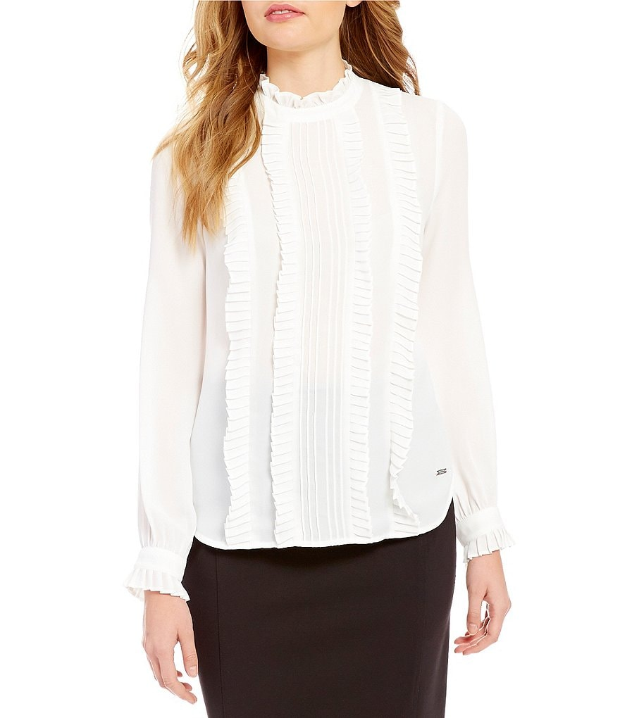 Ivanka Trump Band Collar Long Sleeve Ruffle Front Solid Georgette Blouse