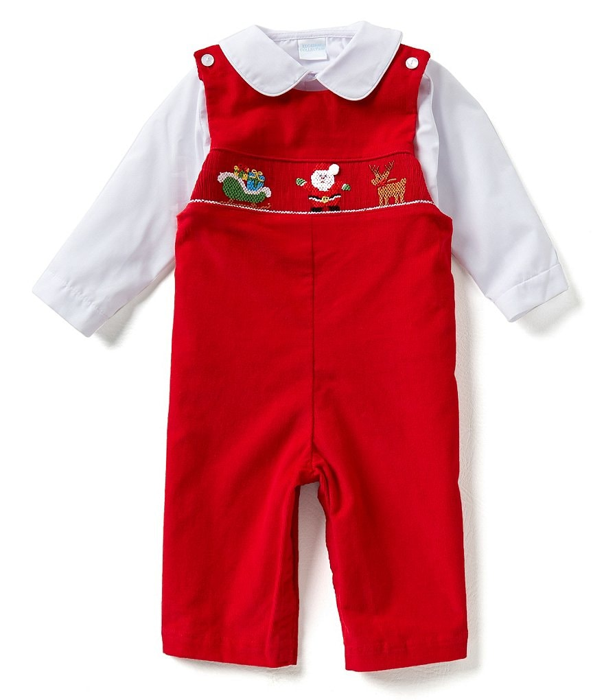 Edgehill Collection Baby Boys 3-24 Months Woven Shirt & Christmas Santa Claus Smocked Coverall Set