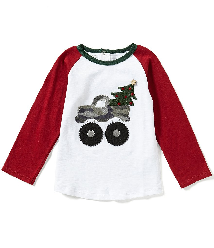 Mud Pie Baby Boys 12-24 Months Christmas Camo Truck Long-Sleeve Tee