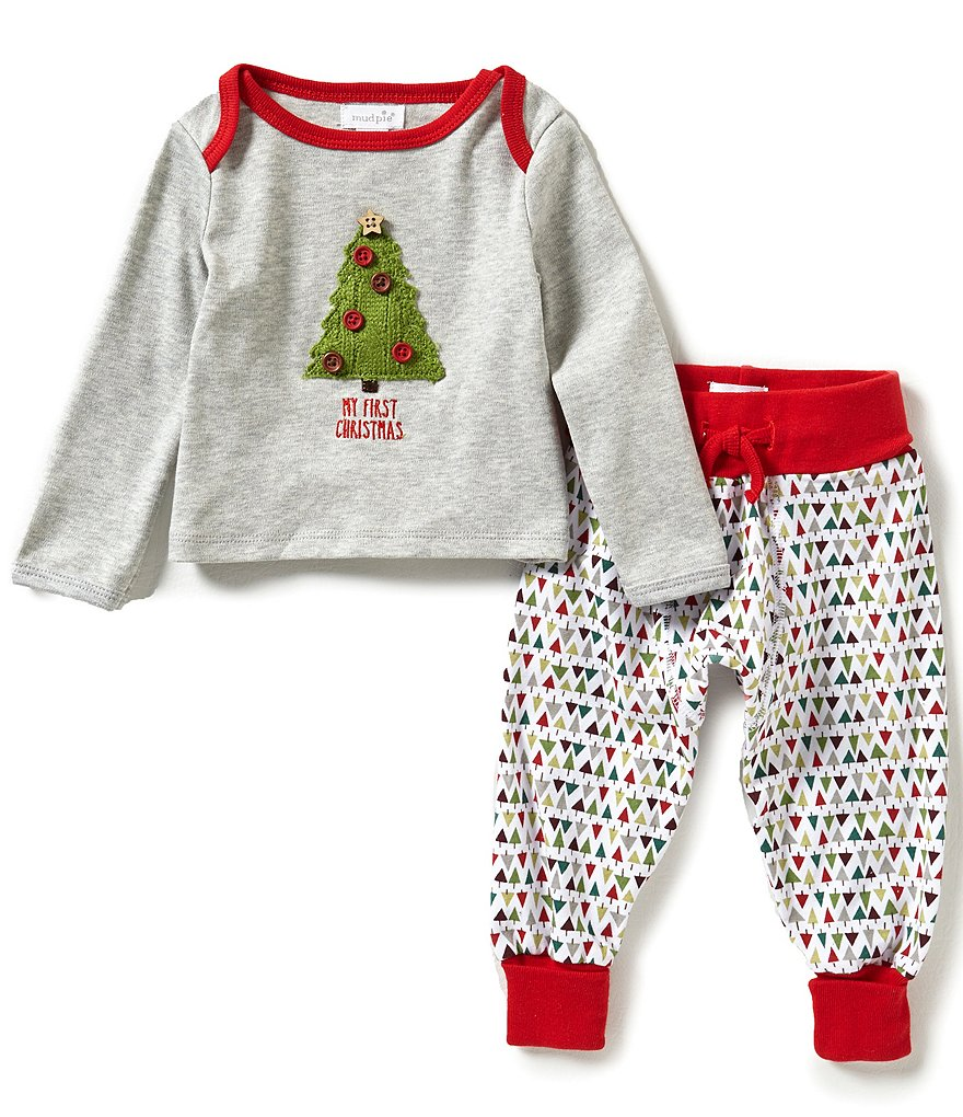 Mud Pie Baby Boys Newborn-12 Months My First Christmas Top and Pants Set