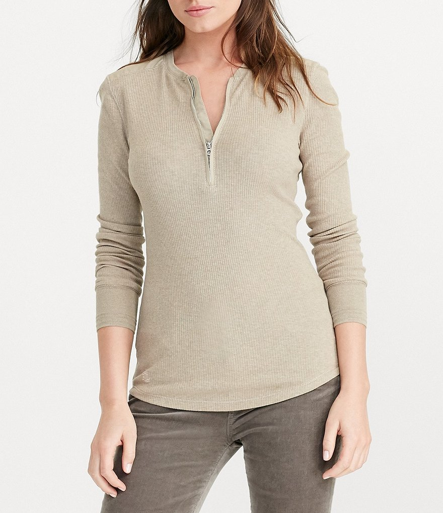 Lauren Ralph Lauren Solid Cotton Half-Zip Henley Shirt