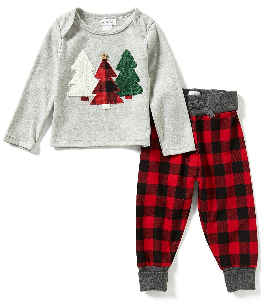 Mud Pie Baby Boys Newborn-18 Months Christmas Tree Top and Checked Pants Set