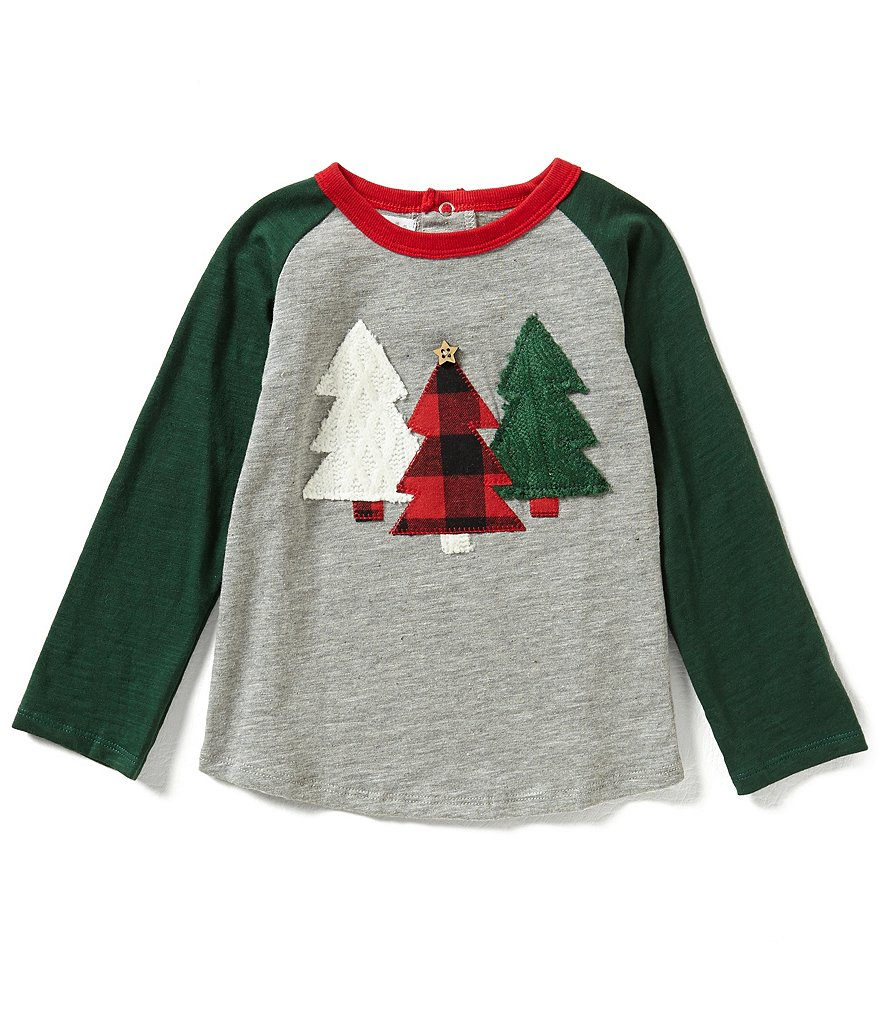 Mud Pie Baby Boys 12-24 Months Christmas Tree Raglan Tee