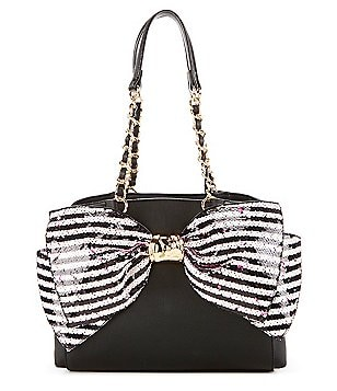 Betsey Johnson Bow-Lesque Sequined Satchel