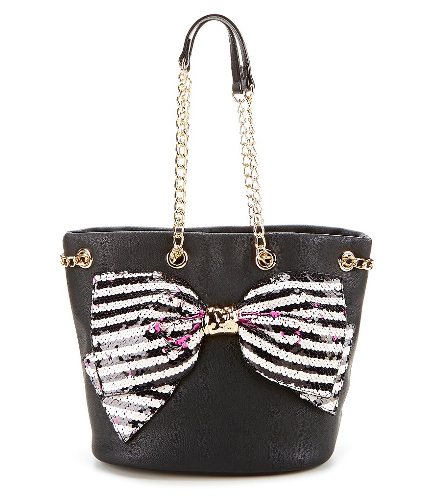 Betsey Johnson Bow-Lesque Sequined Bucket Bag