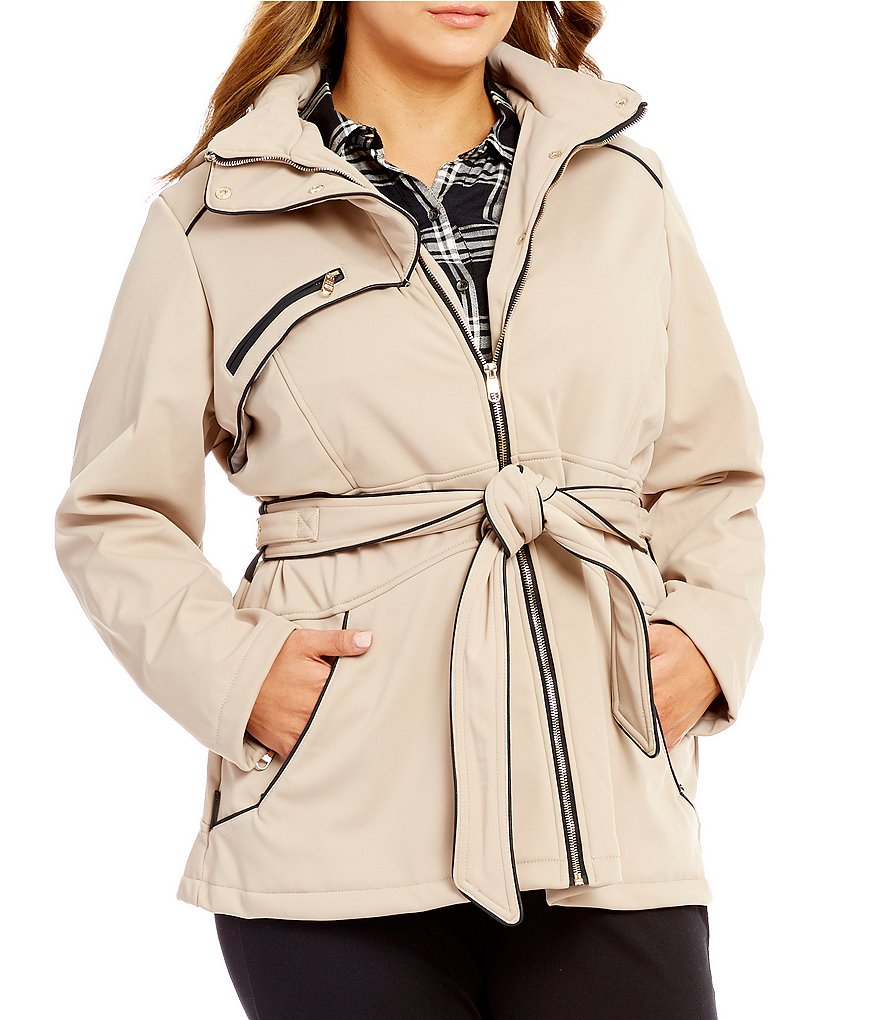 Steve Madden Plus Softshell Belted Anorak Jacket