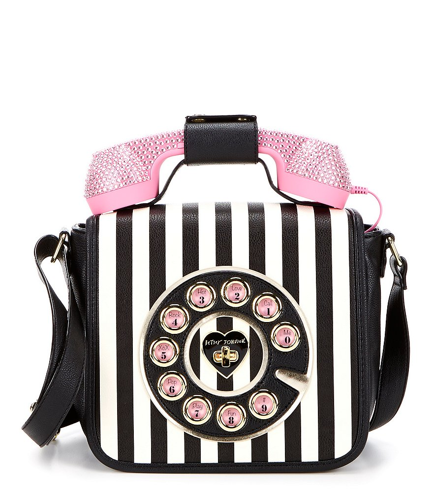 Betsey Johnson Rhinestone Telephone Striped Cross-Body Bag
