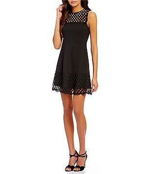 Betsey Johnson Scuba Lace Sleeveless Fit-and-Flare Dress