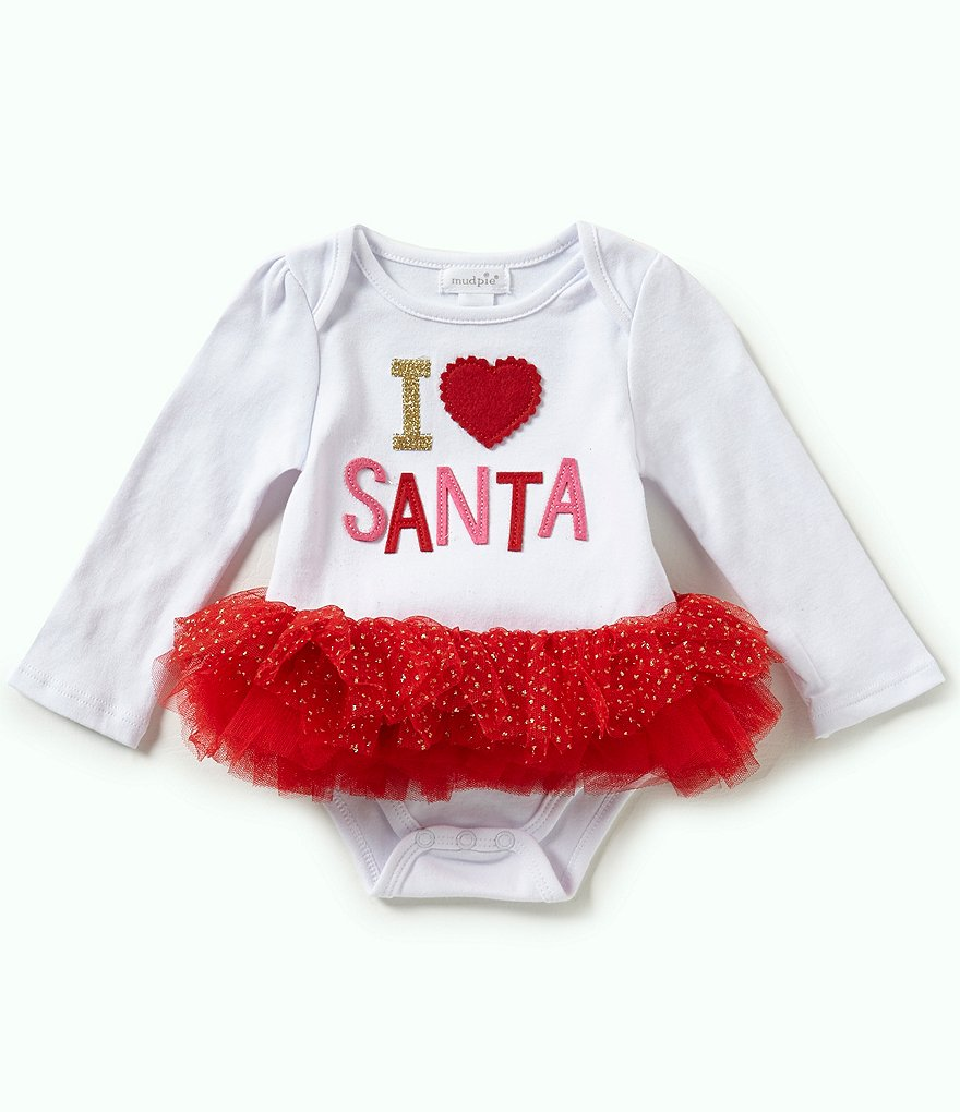 Mud Pie Baby Girls Newborn-12 Months Christmas I Love Santa Tutu Bodysuit