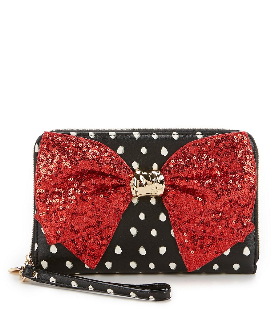 Betsey Johnson Bow-Lesque Dotted Large Zip-Around Wallet