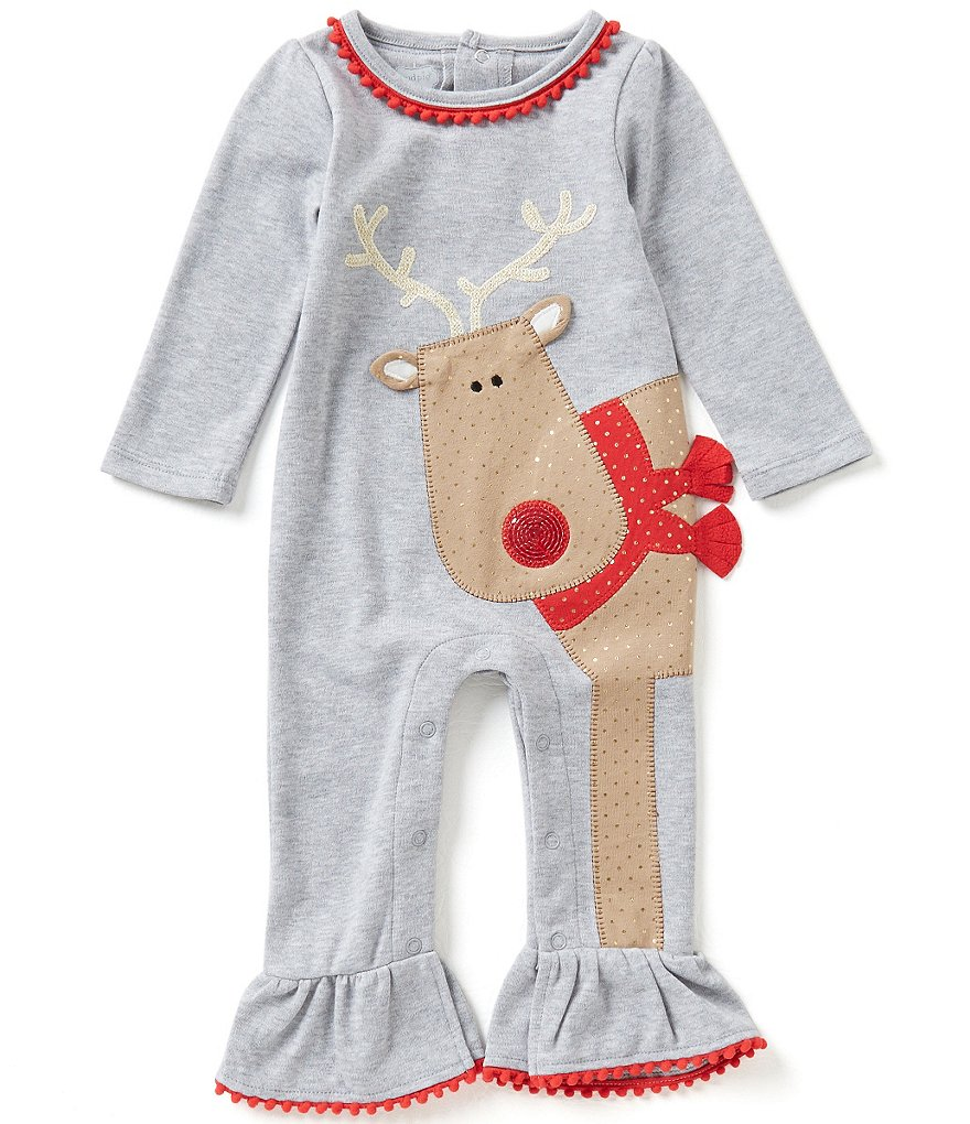 Mud Pie Baby Girls Newborn-12 Months Christmas Reindeer Appliqué Coverall