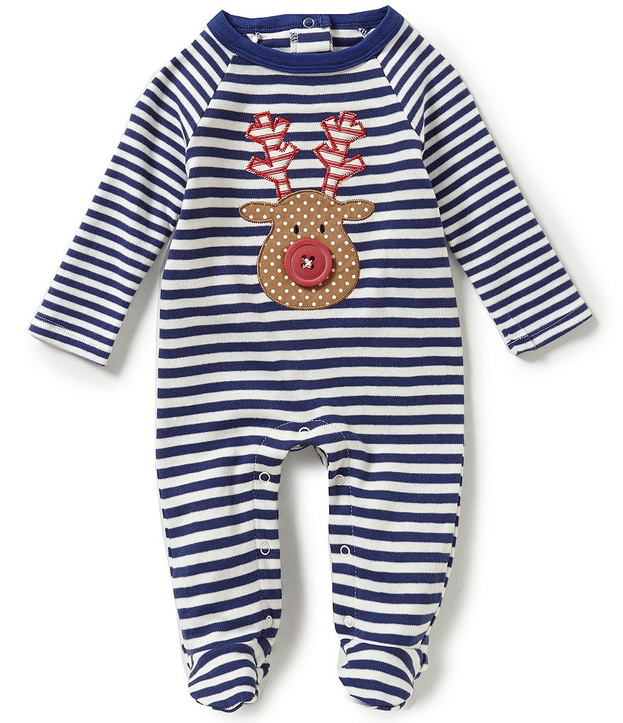 Mud Pie Baby Boys Newborn-9 Months Christmas Reindeer Appliqué Footed Coverall