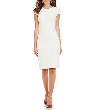 Betsey Johnson Emblem Jacquard Sheath Cap Sleeve Dress