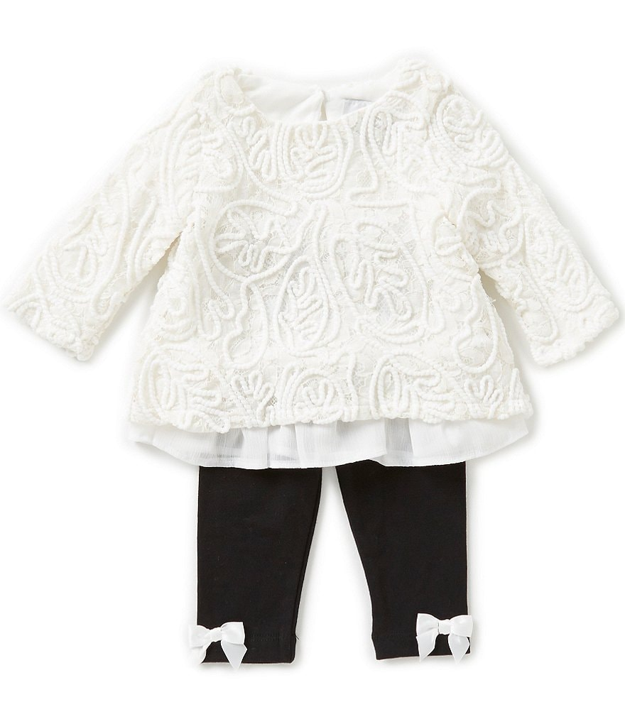 Rare Editions Baby Girls 3-24 Months Long-Sleeve Lace Top & Leggings Set