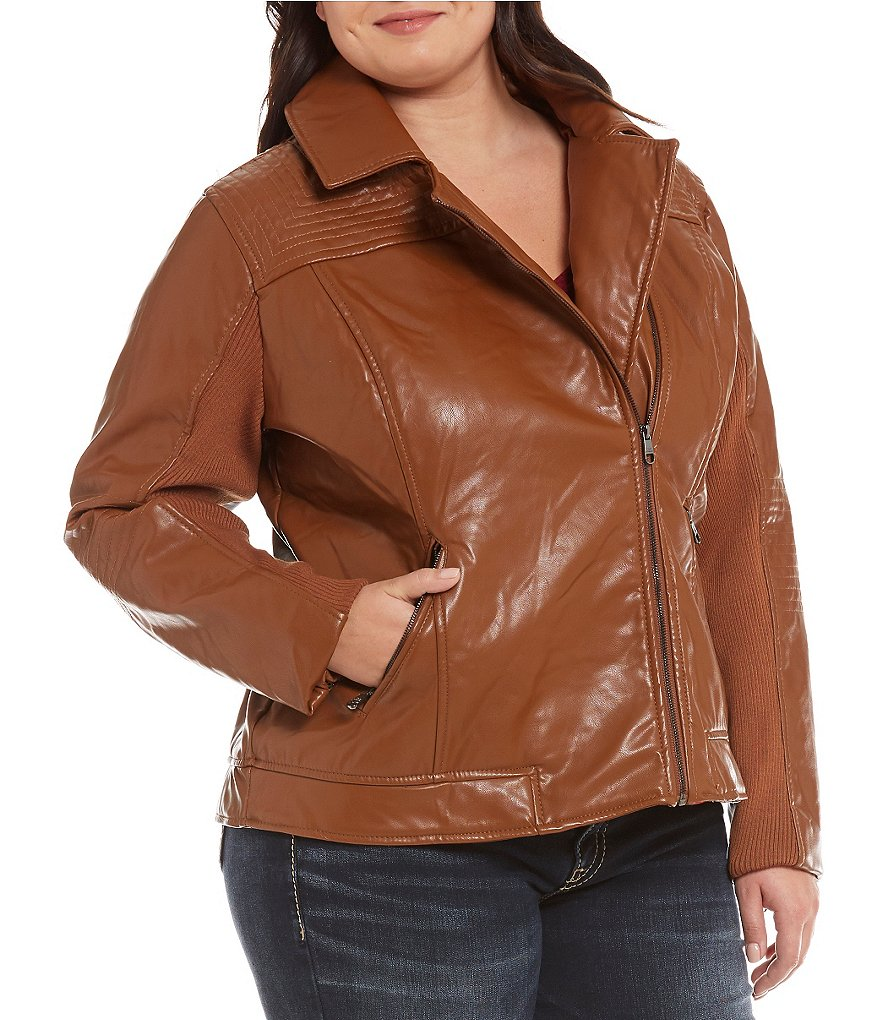 Steve Madden Plus Asymmetrical Faux Leather Biker Jacket