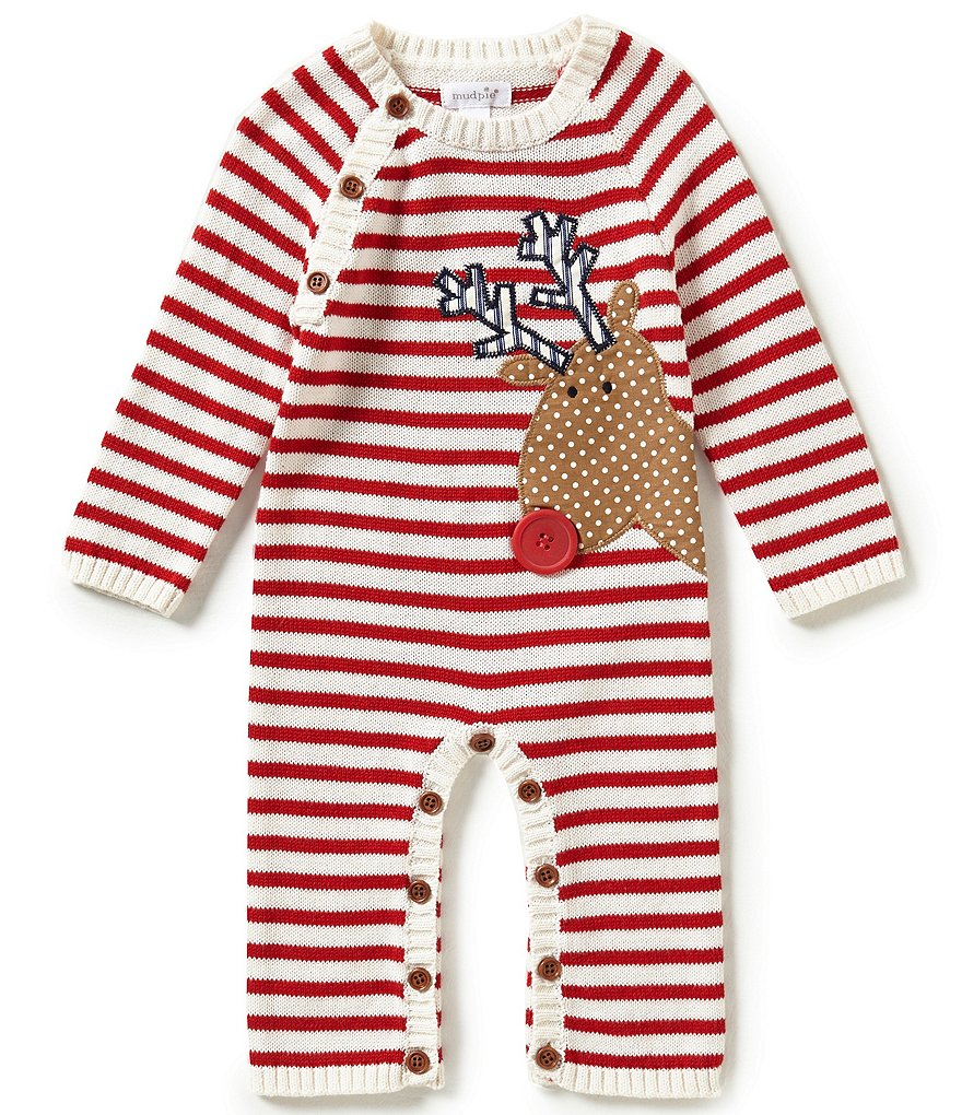 Mud Pie Baby Boys Newborn-12 Months Christmas Reindeer Coverall