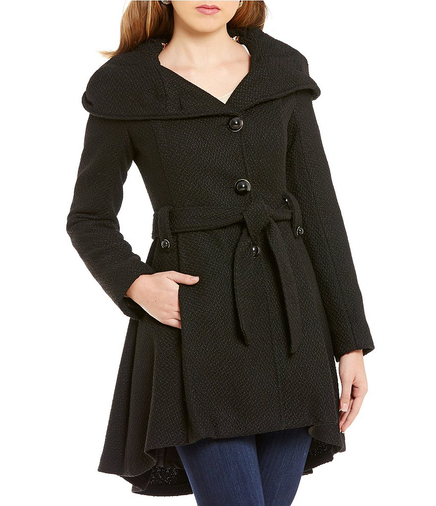 Steve Madden Single Breasted Fit-and-Flare Wool Hooded Drama Coat