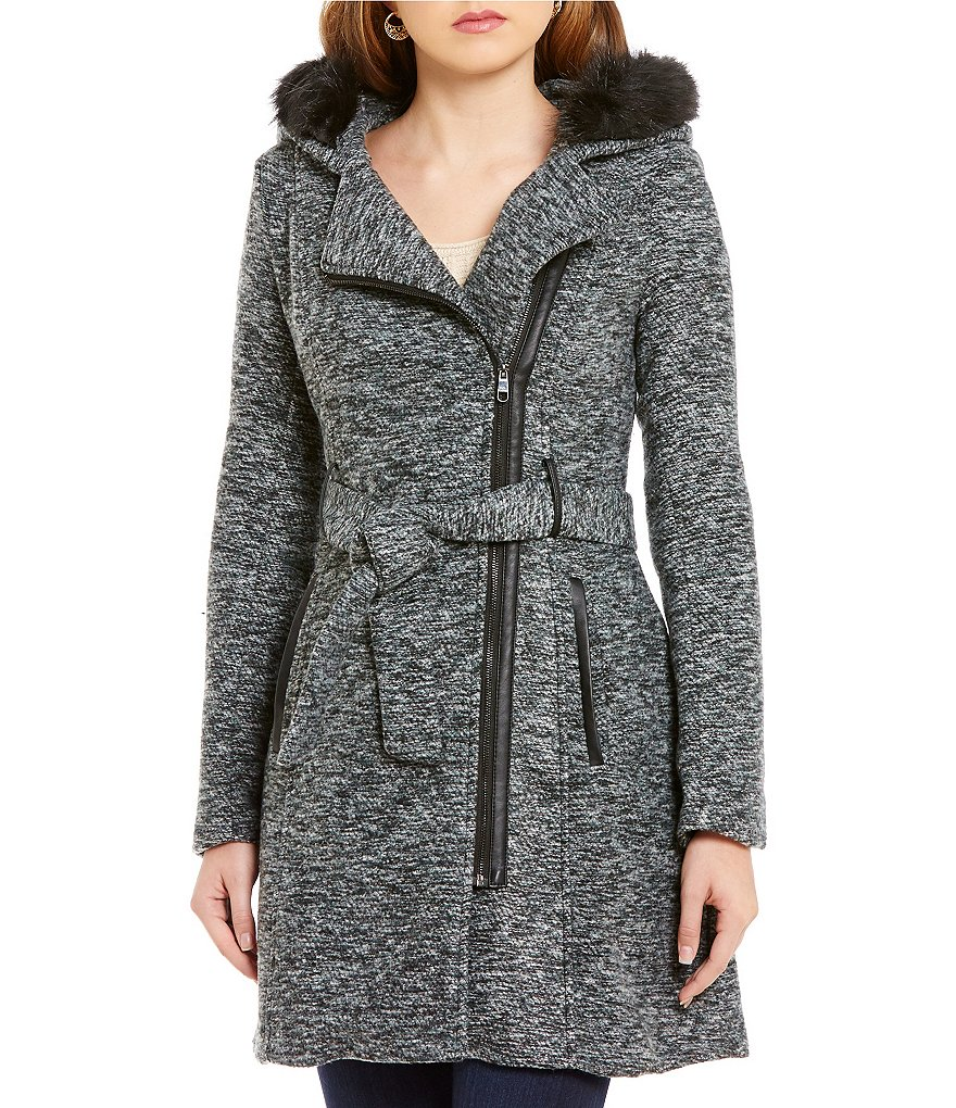 Steve Madden Asymmetrical Fit-and Flare Faux Fur Trim Wool Belted Coat