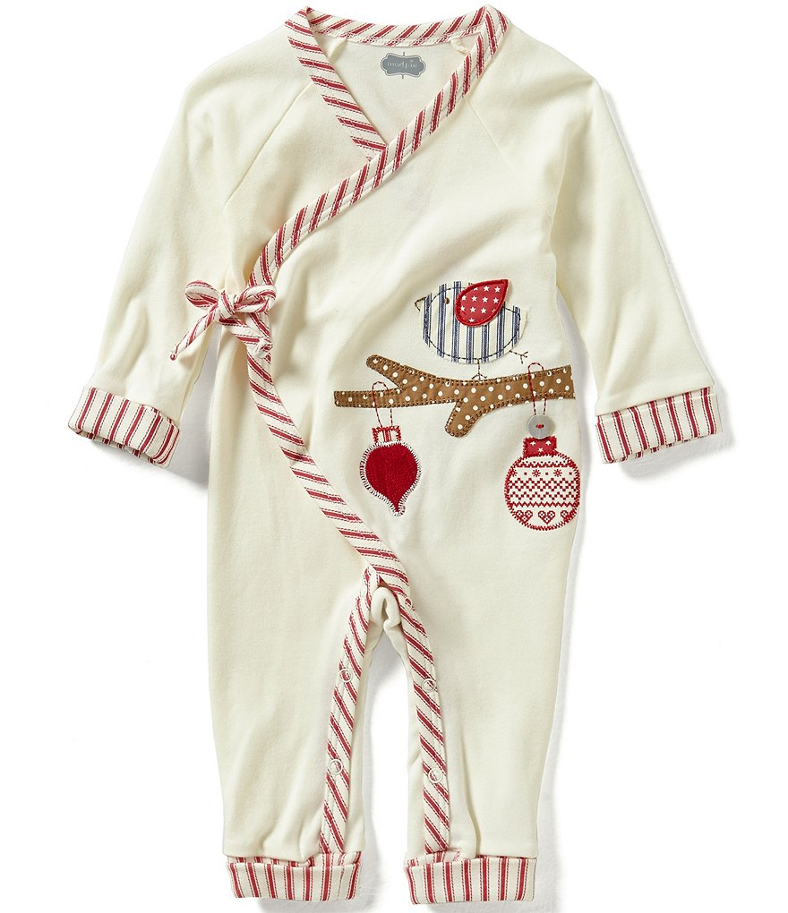 Mud Pie Baby Girls Newborn-9 Months Christmas Bird Kimono Coverall