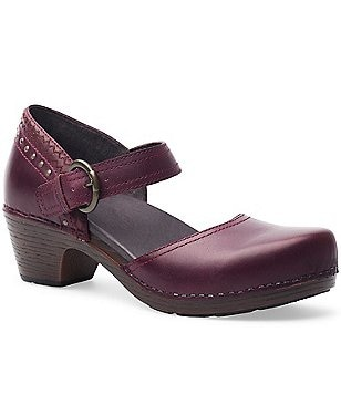 Dansko Makenna Leather Buckle Closure Heeled Mules