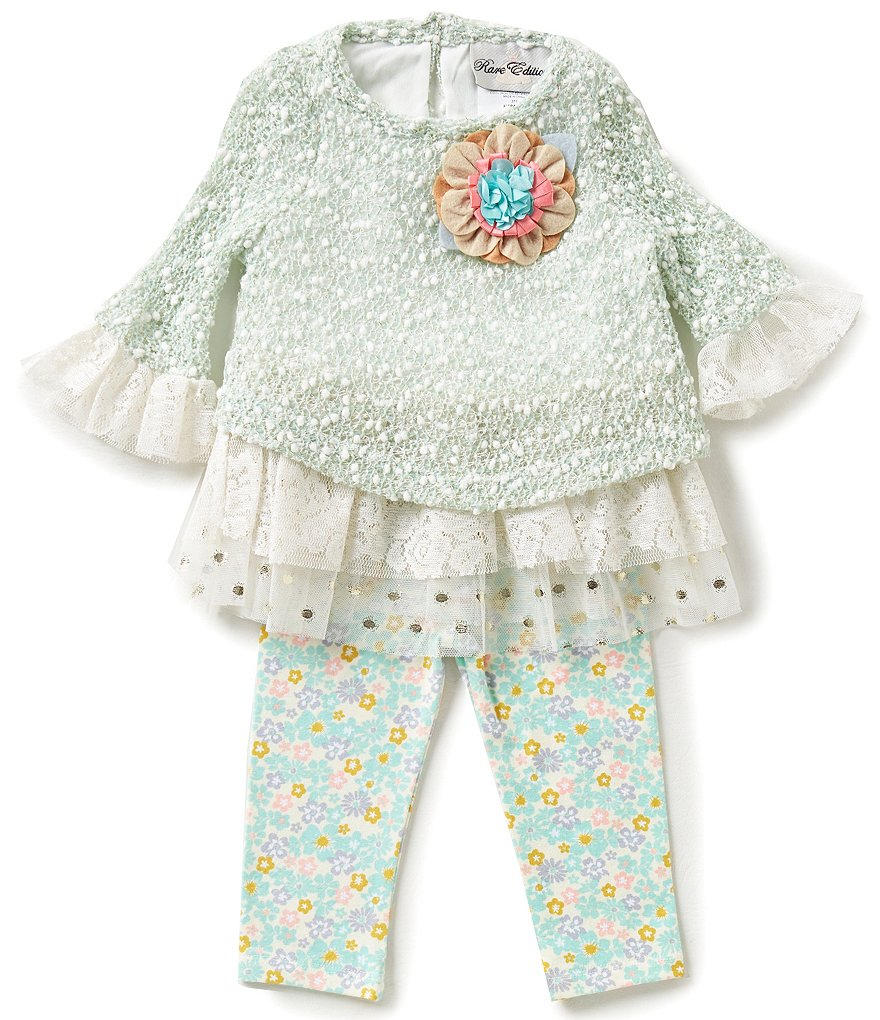 Rare Editions Baby Girls 3-24 Months Floral-Applique Top & Leggings Set