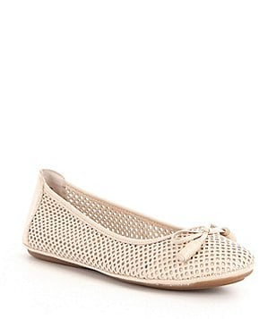 Montana Ramosa Laser Cut Leather Bow Detail Slip-On Flats